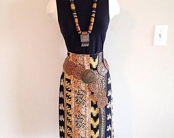 SALE! Vintage High Waist Tribal Pencil Skirt