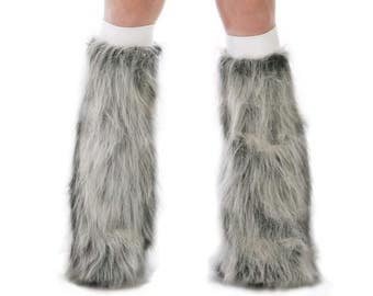 Gray Rave Fluffies - Fluffy Leg Warmers - Furry Boot Covers - Long Pile Faux Fur Gray Fluffies