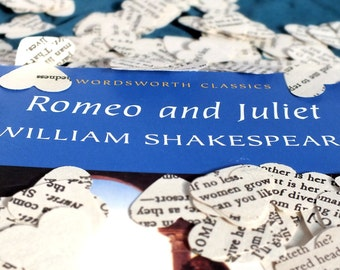 250 Romeo and Juliet Shakespeare Play Heart Confetti - Hand Punched Wedding Confetti, Table Decor, Rustic, Paper Decorations