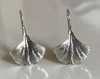 Sterling Silver Ginkgo Leaf Earrings, Ginko Earrings in Sterling Silver