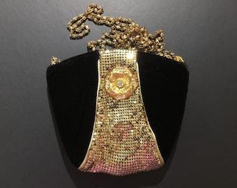 Vintage Velvet Mesh Evening Bag Gold Black