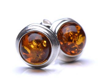 Sterling Silver Stud Earings With Genuine Baltic Amber - Casual Amber Earings