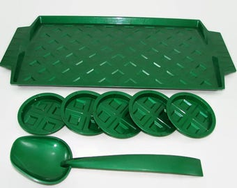 Vintage Green Plastic Serving Set, Green Spoon, 5 Coasters by Sterling USA, Picnic, Party Serving Tray