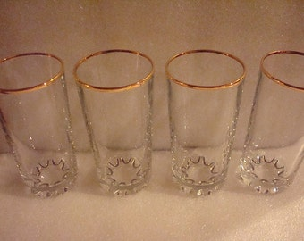 Set of Four Heavy Clear Glass With Gold Trim 8oz Water Glasses