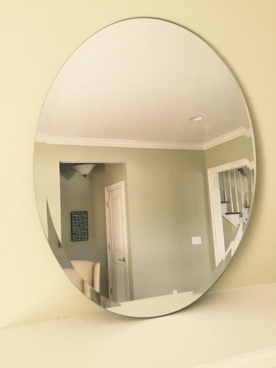 Oval Beveled Mirror Frameless 24 Inch