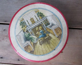 Vintage Christmas Tin Cookie or Candy Tin Red Victorian Scene