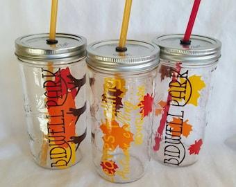DIY Fall color THANKFUL Mason Jar Portable Glass Tumbler Drink Leaves Falling Autumn Calling (you choose wording) w/ Reusable Straw 24oz ONE