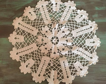 Ecru Crocheted Doily / Vintage Cotton Crocheted Doily Unusual Open Weave Pattern 14.5""