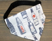 Micro Brew Cat Bandana, Beer Bottles, Small Dog Bandanna, Pet Fashion, Collar Accessory, Hipster, Houndstooth, Home Brew