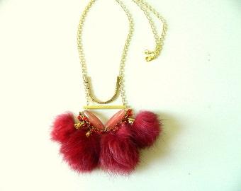 Red Fur Pom pom Necklace with Cherry Quartz Brass necklace Tassel Necklace Long Necklace Statement necklace Bib necklace modern necklace