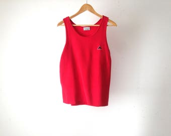 vintage 90s RED nike style ATHLETIC waffled tank top