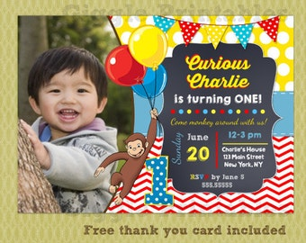 Curious George Invitation - Birthday Party Invitations - DIY Printables