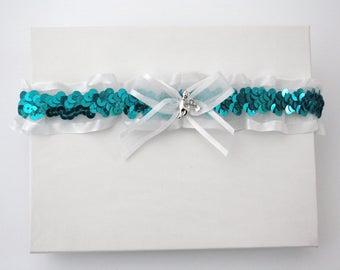 Turquoise & white wedding garter, 2017 Prom garter, Cat garter, Turquoise lingerie, Turquoise sequins garter, Turquoise Bridal garter