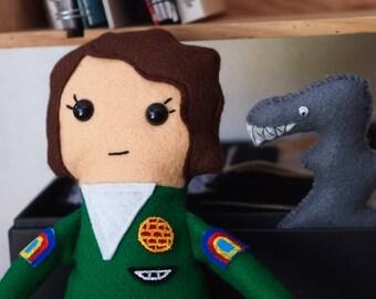 "Alien Inspired Ellen Ripley Felt Cuddly Toy/Rag Doll 33cm (13"") tall with mini Alien"