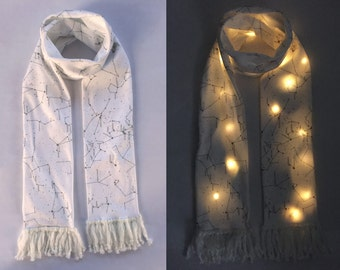 White Constellation LED Scarf, Wearable Tech, Glowing Astronomy Scarf, Space Gift, Astrology, Astronomer Gift, White Fleece Scarf