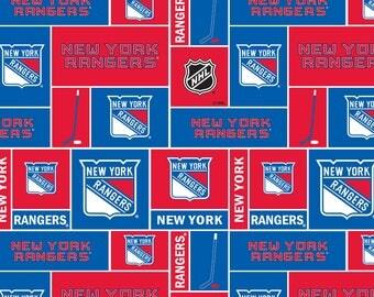 New York Rangers Cotton Fabric By The HALF YARD