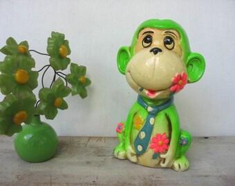 Paper Mache Monkey Pencil Sharpener Kitsch Flower Power Chimp 1969 Holiday Fare NYC  Mid Century Modern