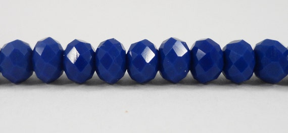 Opaque Blue Crystal Beads 6x4mm (4x6mm) Blue Crystal Rondelle Beads, Chinese Crystal Faceted Glass Beads on an 8 Inch Strand with 50 Beads