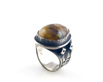 Graveyard Point Plume Agate Silver Ring