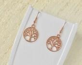 Tree of Life Earrings - Rose Gold, Hook Earrings, Drop Earrings, Tree of Life, Jewellery, Dangly Earrings, Family, Tree of Life