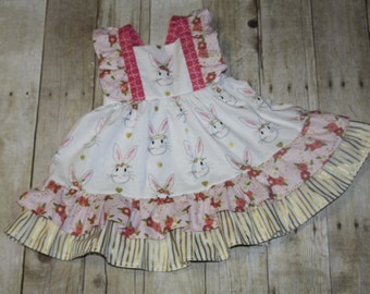 Bunny Ruffle Knot Dress Baby, toddler, and girls nova dress sz 12m, 18m, 24m/ 2, 3,4,5,6,7,8 Easter Dress Wonderland fabric bunny ruffle
