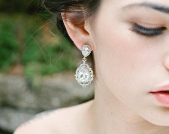 Bridal Earrings, ANAIS Wedding Earrings, Swarovski Earrings, Silver Dangle Bridal Earrings, Cubic Zircona Drop Earrings, CZ Dangle Earrings