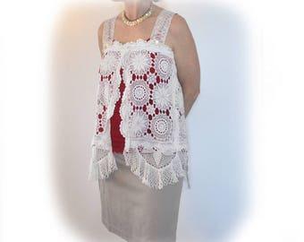 Beautiful Lace Vest Tunic, Upcycled Vintage Lace, CHARLOTTE white lace vest, Repurposed Lace, Elegant Vest, Sz Med-Small, OOAK, Cottage Chic