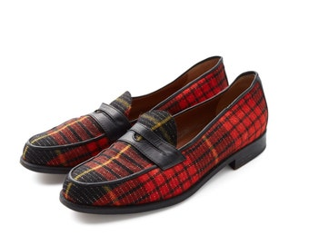 SALE were 200 now 100 vintage 80s MOSCHINO plaid tartan loafers slip on shoes