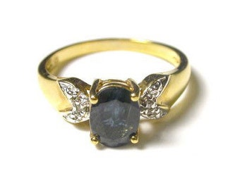 Natural Blue Sapphire and Diamond 14K Yellow Gold Plated Ring - Size 7.5 - September Birthstone