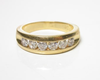 14k Yellow Gold 6 Diamond Ring - Size 9 - Man s Ring - Men Jewelry - Wedding Band - Engagement