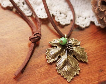 The maple leaf string necklace for the ancient forest  0317