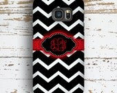 Gifts for teens, Chevron Samsung S5 case, Girls S6 case, Protective Samsung S7 case, Red fashion accessories (1001)