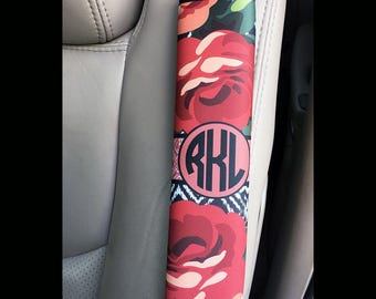 Red floral car decor, Rose and iKat padded seat belt cover, Pretty auto personalization, Monogrammed gifts for her (1587)