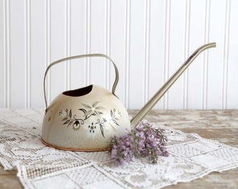 Vintage Watering Can, Small Watering Can, Farmhouse Decor, White Watering Can, Country Home Decor, Painted Tin Watering Can, Made in USA