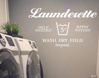 Launderette Help needed Apply within Wash dry fold repeat Laundry Room, Laundry Sign, French Laundry decal, Wall decal, vinyl, glass HH2185