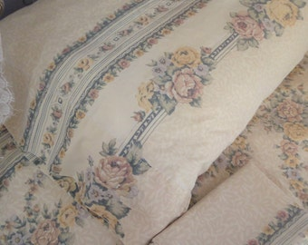 Jessica McClintock Sheet, Pair of Pillowcases, Vintage Bedding,  Queen Flat, Bed Sheet,