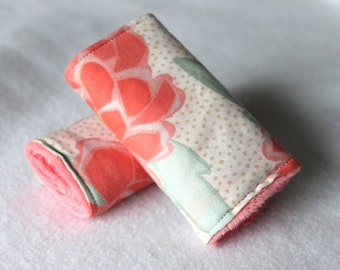Car Seat Strap Covers - Stroller Strap Covers - Coral Peonies with Coral Minky - Reversible padded strap covers