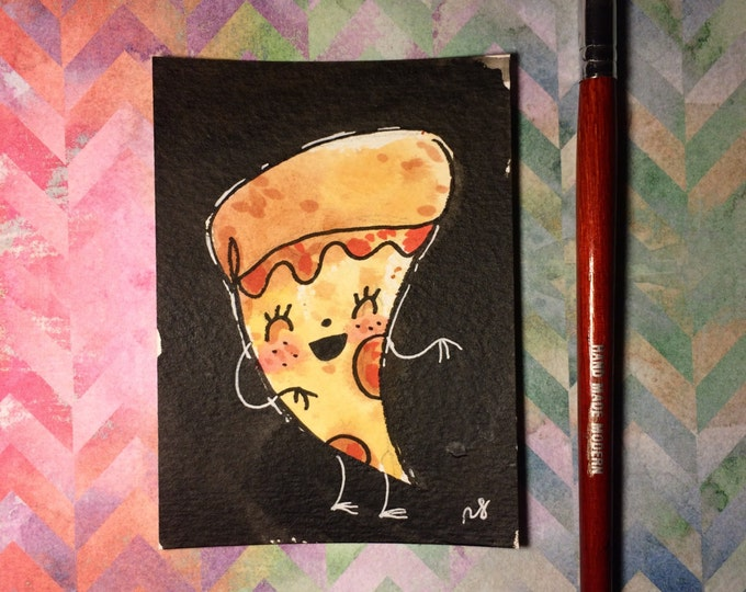 """Watercolor and ink Painting """"Pizza Lady"""" 3x4 inches drawing / decoration."""