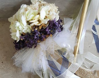 Custom Order 1 Ivory Navy Flower Girl Tutu Pom Wand