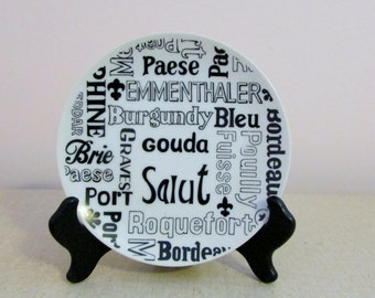 Cheese Plate, Wine & Cheese Dish, '70's China, Serving Dish, Black White Kitchen Decor ~ BreezyJunction.etsy.com