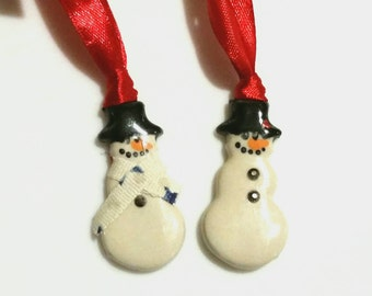 Snowman Ornament , Frosty the Snowman, Stocking  Stuffer, Ceramic  Christmas Ornament