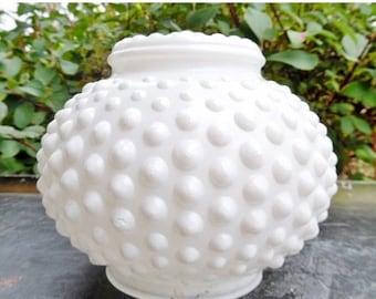 ON SALE Vintage, Hobnail, Polka Dot, Shade, Globe, Lighting, Pendant Light Shade, Light Fixture Shade, Cottage Chic, White