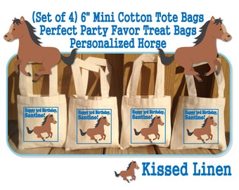 """Personalized Horse Pony Horseback Riders Riding Birthday Party Treat Favor Gift Bags Mini 6""""x6"""" Natural Cotton Totes Kids Horses Ponies"""