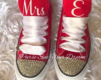 Custom Bridal Converse Wedding Shoes - Swarovski Crystal Wedding Shoes - Custom Swarovski Converse Wedding Shoes - Bride To Be
