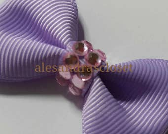 Lavender Mini Bling Tuxedo Hair Bow Princess Bow Girls Toddler Teen Birthday Photo Shoot Holiday Special Occasion Hair Bow