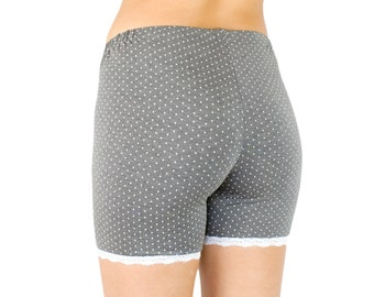 Organic Bamboo Shorts Gray Polka Dot with Lace Trim Modesty Biker Shorts