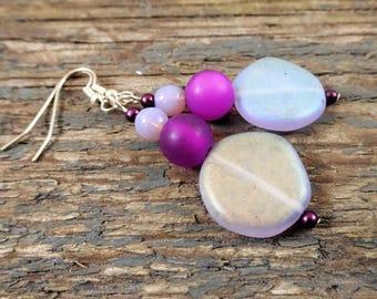 Purple earrings, dangle earrings, gift for her, purple frosted earrings, purple jewelry, long earrings, purple wedding, boho earrings, lilac