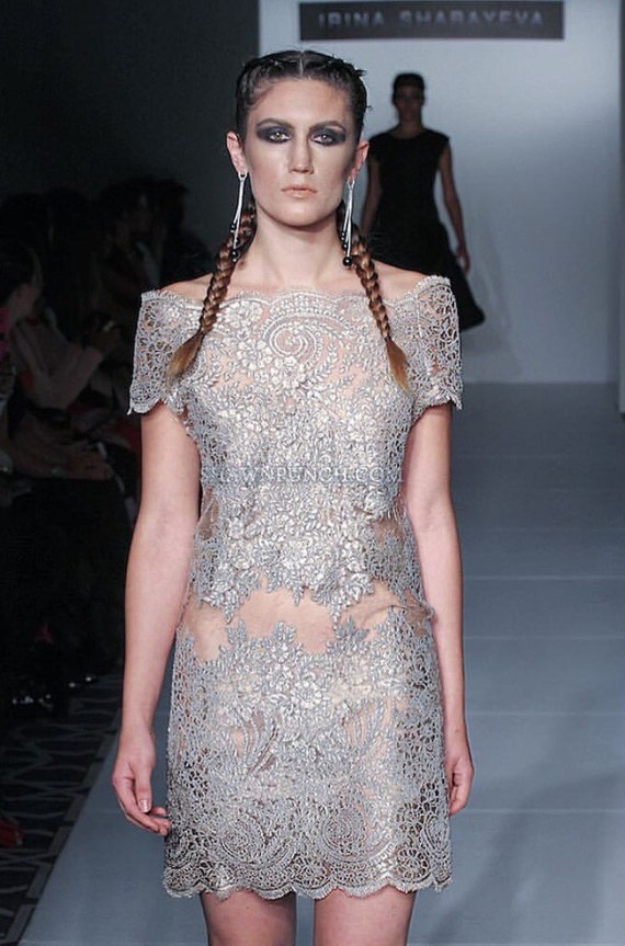 Irina Shabayeva Lace Applique off shoulder dress.