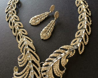 Romantic feathers rhinestone crystals wedding bridal bridesmaids, party jewelry set, wedding jewelry, bridal necklace, rhinestone earrings