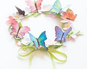 DIY flash sale Paper watercolor butterflies and flower crown and-or garland Downloadable, printable DIY PDF Instant Download
